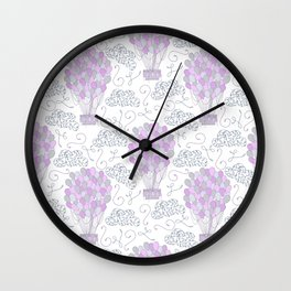 Vintage hot air balloons line drawing pastel purple Wall Clock