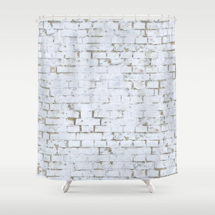 Vintage White Brick Wall Shower Curtain