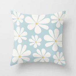 Floral Daisy Pattern - Blue Throw Pillow