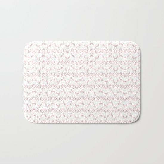 Lovely Pink and White Heart Pattern Bath Mat
