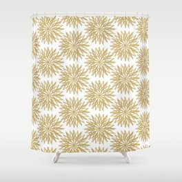 Flower Pattern Gold Shower Curtain
