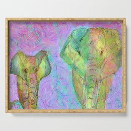 Colored elephants Serving Tray