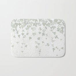 Soft Gray Green and White Trailing Ivy Leaf Print Bath Mat
