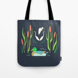 Mallard + Great Egret + Cattails Tote Bag