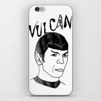 spock iPhone & iPod Skins featuring Mister Spock by Emmanuelle Ly
