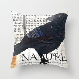 Paper Crow Throw Pillow