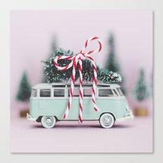 Aqua Vintage Bus Christmas Canvas Print