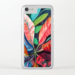 Colorful Tropical Leaves 2 Clear iPhone Case
