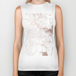 Amsterdam White on Rosegold Street Map Biker Tank