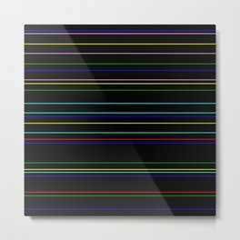 Nightlife - Coloured Stripes On Black Metal Print