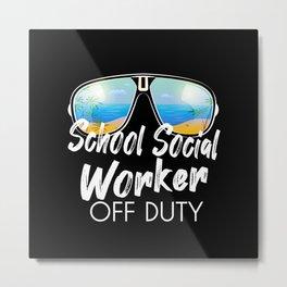 School social worker off duty sunglasses beach Metal Print