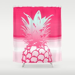 Pink Pineapple Tropical Beach Design Shower Curtain