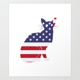 American Flag Funny Cat Art Print