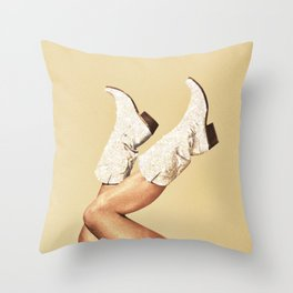 These Boots - Glitter & Tan Throw Pillow