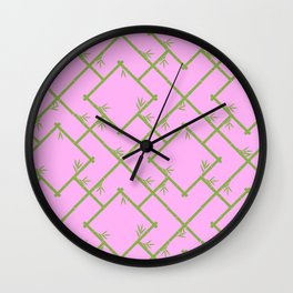 Bamboo Chinoiserie Lattice in Pink + Green Wall Clock