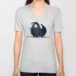 Swan 1. Light blue on Black background-(Red eyes series) Unisex V-Neck