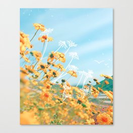 Yellow Dandelion Field Canvas Print