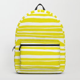 Small Sun Yellow Handdrawn horizontal Beach Stripes - Mix and Match with Simplicity of Life Backpack