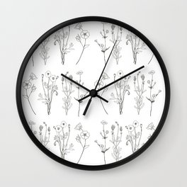 Ink flower stems Wall Clock