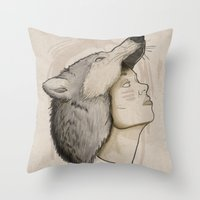 hunter Throw Pillows featuring Hunter by Fiction Design