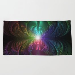 Anodized Rainbow Eyes and Metallic Fractal Flares Beach Towel