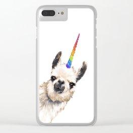 Sneaky Unicorn Llama White Clear iPhone Case