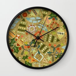 vintage christmas gold Wall Clock