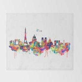 Paris Skyline Silhouette Throw Blanket