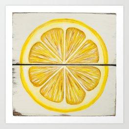 Rustic Lemon Slice Art Print