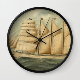 Vintage Illustration of a Large Sailing Yacht (1919) Wall Clock