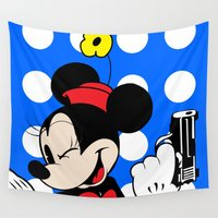 minnie Wall Tapestries featuring Ride or Die Minnie by PeacexLovexAnimate