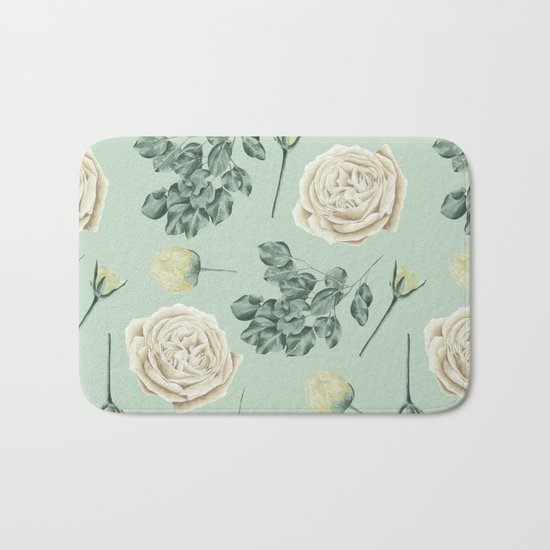 Rose Pattern Cream + Mint Green Bath Mat
