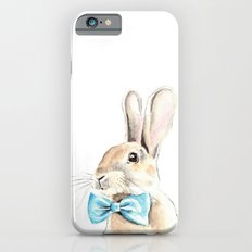 Bunny with a Blue Bow Tie. Watercolor Illustration. iPhone 6s Slim Case