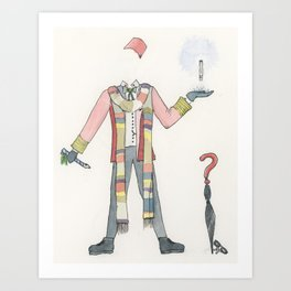 The Fourth Doctor's Outfit in Watercolor Art Print