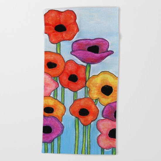 Colorful Poppies on Blue Beach Towel