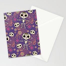 Lil Sugar Skeleton - dark purple and organge Stationery Cards