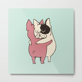 French Bulldog  Hugs Metal Print