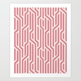 Abstract Geometric Lines - Pink Art Print