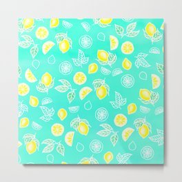 Modern summer bright yellow green lemon fruits watercolor illustration pattern on mint green Metal Print