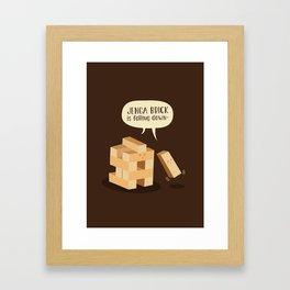 Jenga Brick is Falling Down Framed Art Print
