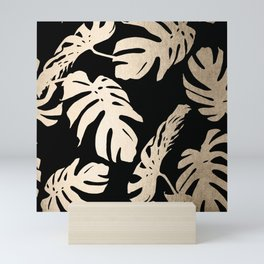 Simply Palm Leaves in White Gold Sands on Midnight Black Mini Art Print