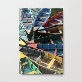 Boats in Fewa Tal Metal Print