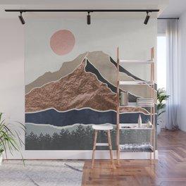 Mount Hood // Daylight Art Print Oregon Stratovolcano Rose Gold Silver Blue Cream Black Mountain Wall Mural