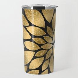 Pretty gold faux glitter abstract flower illustration Travel Mug