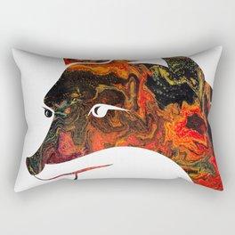 White Fox Head Silhouette on Fluid Art Pour Rectangular Pillow