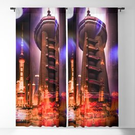 Full moon - Moments Shanghai Oriental Pearl Tower Blackout Curtain