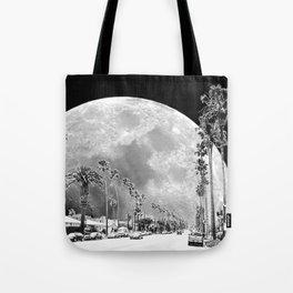 California Dream // Moon Black and White Palm Tree Fantasy Art Print Tote Bag