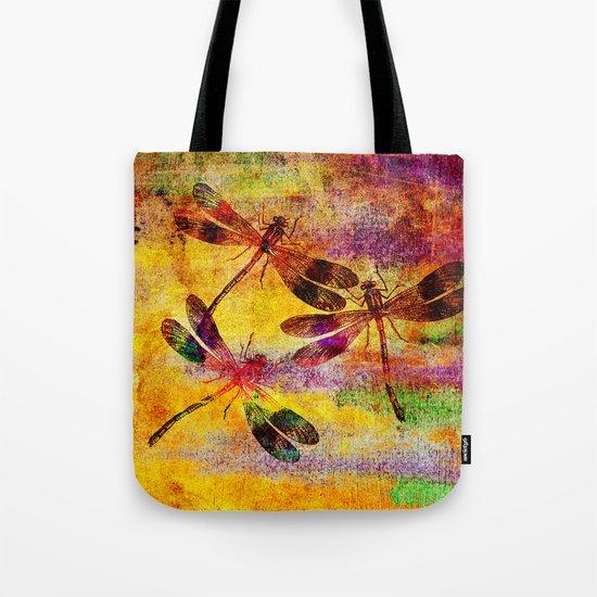 Mauritius Vintage Dragonflies Colours Tote Bag