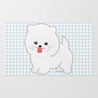 pomeranian Area & Throw Rugs featuring White Pomeranian by Pati Designs