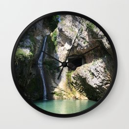 Mountain river and little waterfall Wall Clock